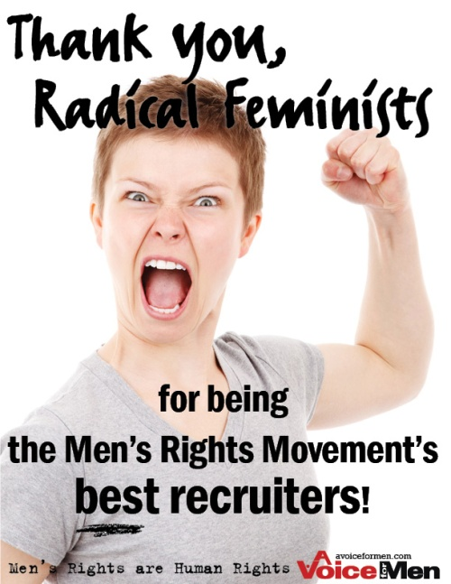 Poster: Thank you Radical Feminists, for being the MRM's best recuiters